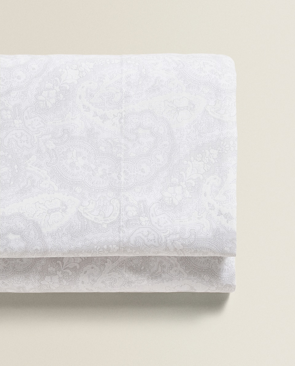 GREY PAISLEY FLAT SHEET