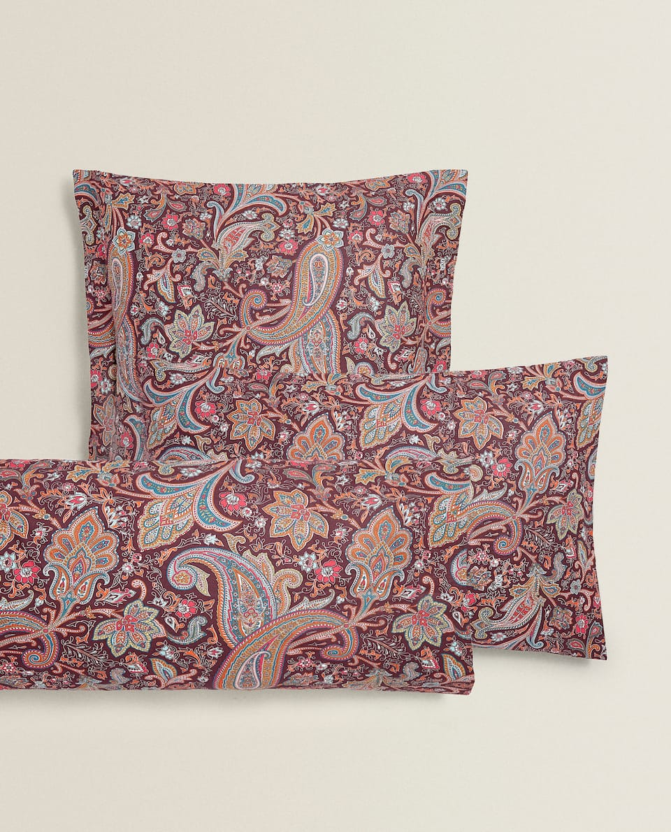 BURGUNDY PAISLEY PILLOWCASE