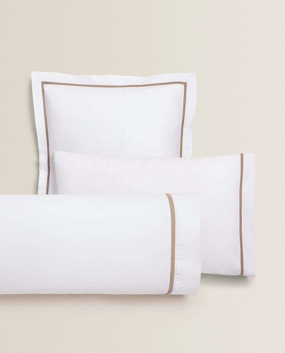 PILLOWCASE WITH CONTRAST HERRINGBONE BAND
