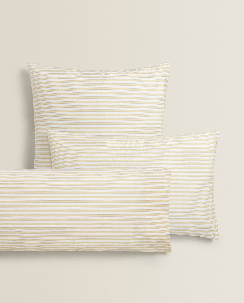 YELLOW STRIPED PILLOWCASE