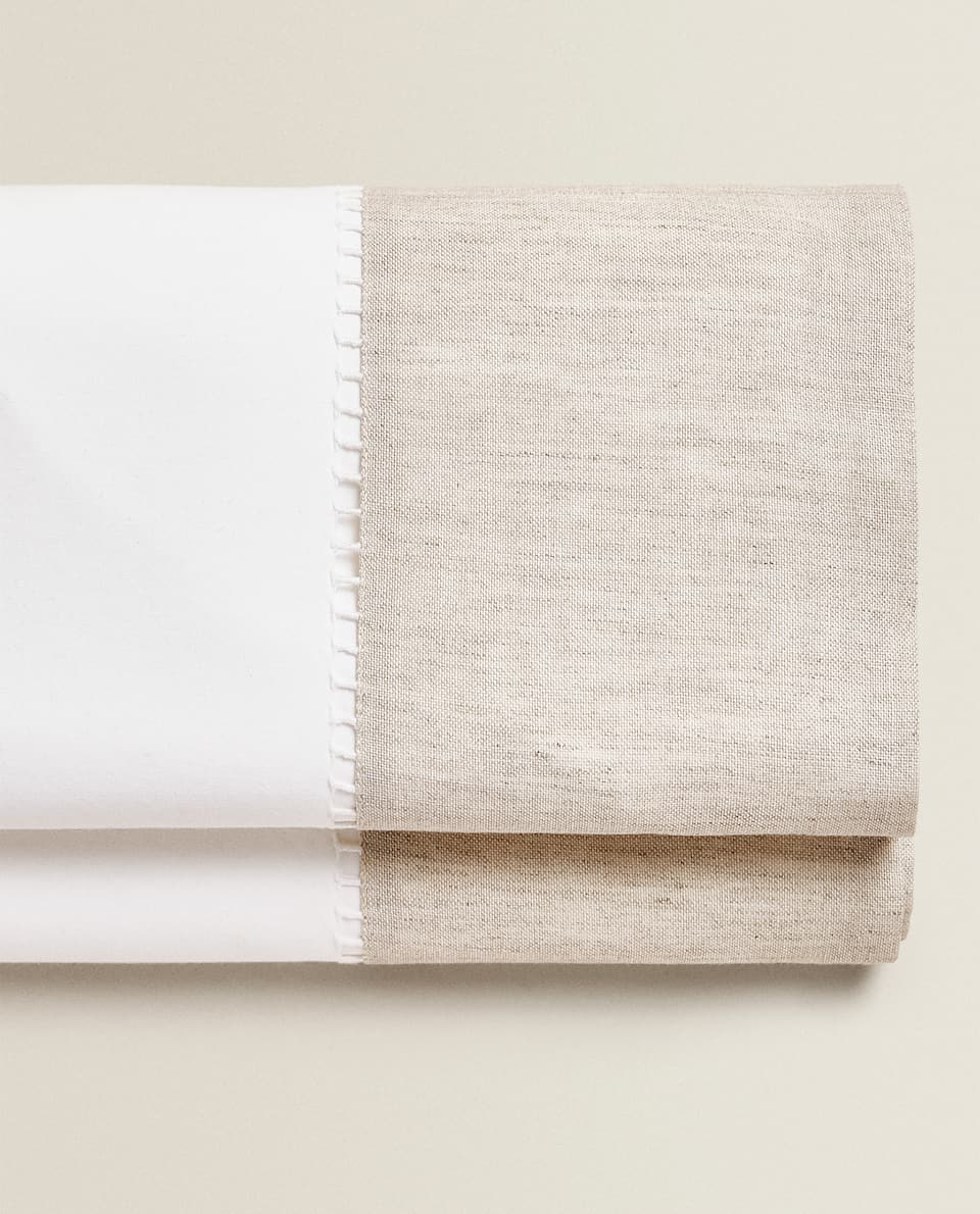 COTTON FLAT SHEET WITH CONTRASTING LINEN BORDER