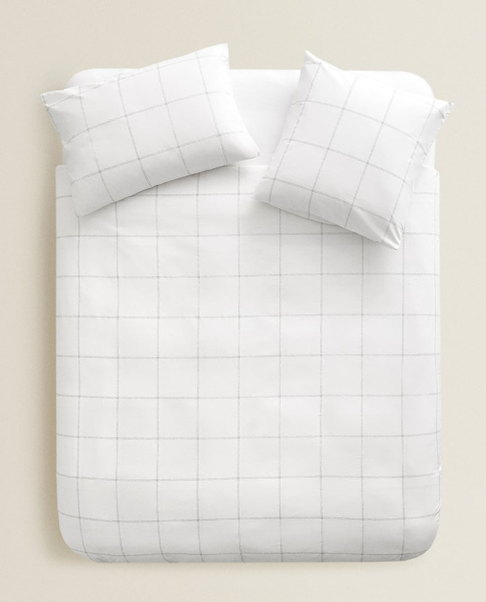 LARGE CHECK PRINT DUVET COVER