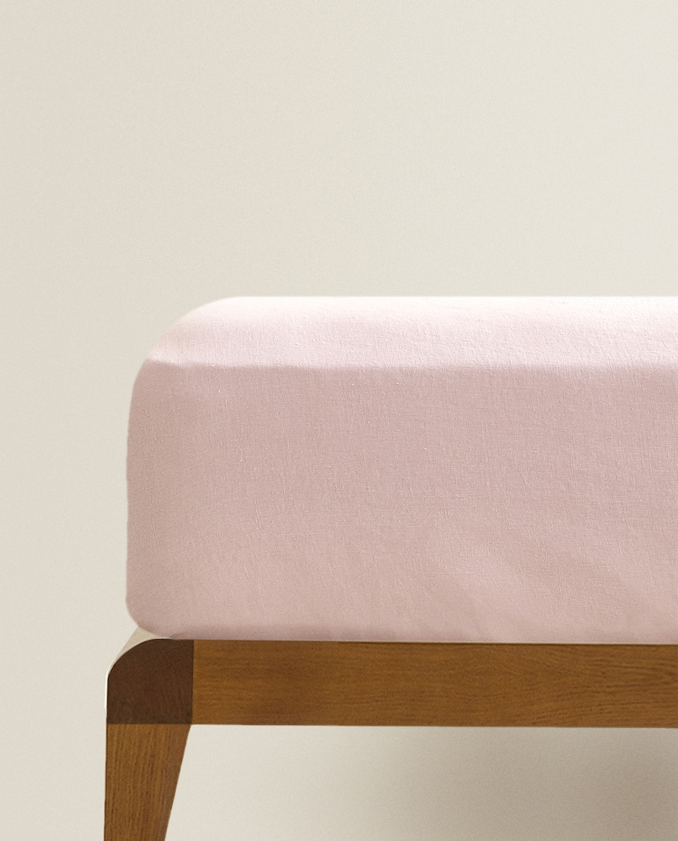 PINK LINEN FITTED SHEET