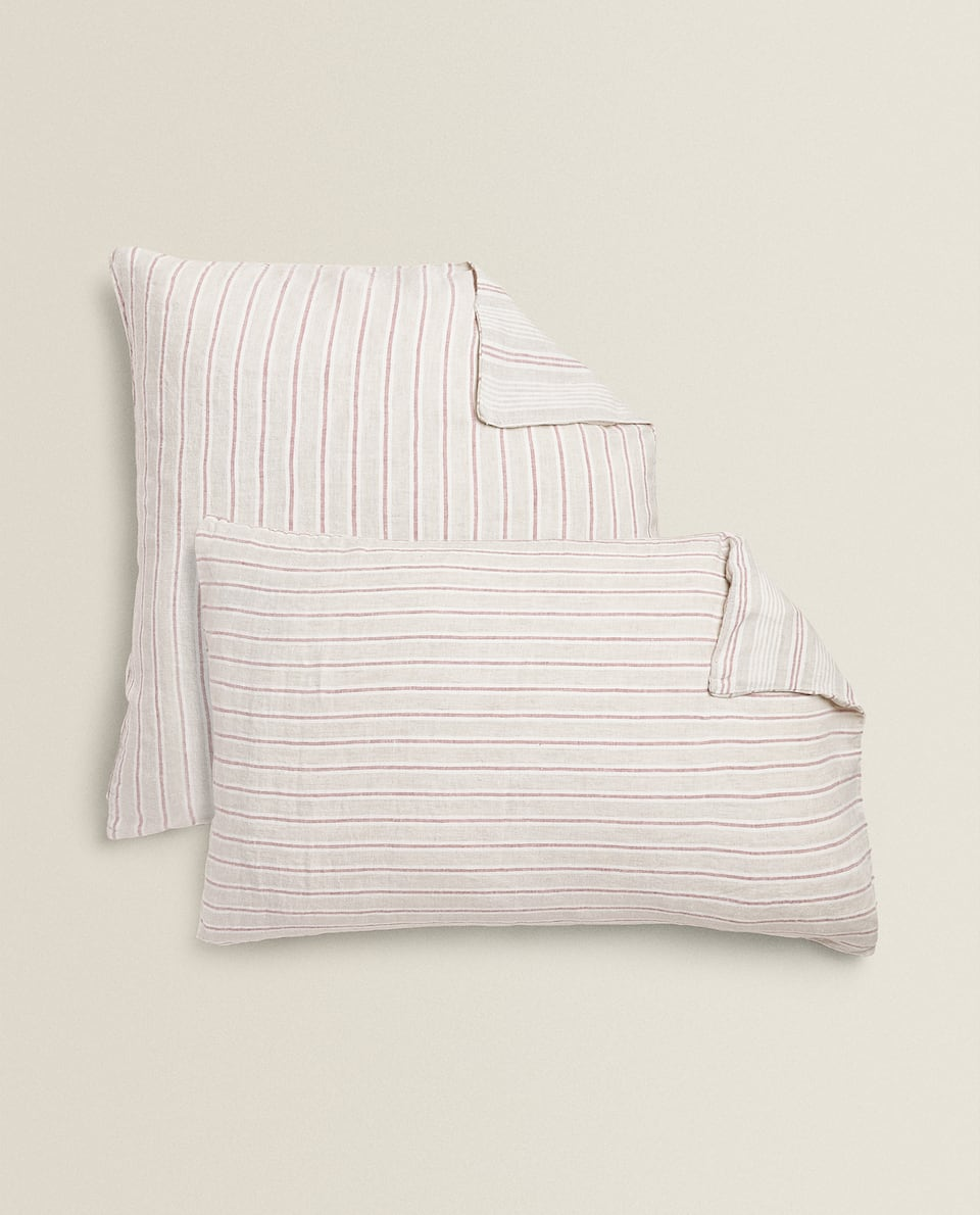STRIPED LINEN PILLOWCASE
