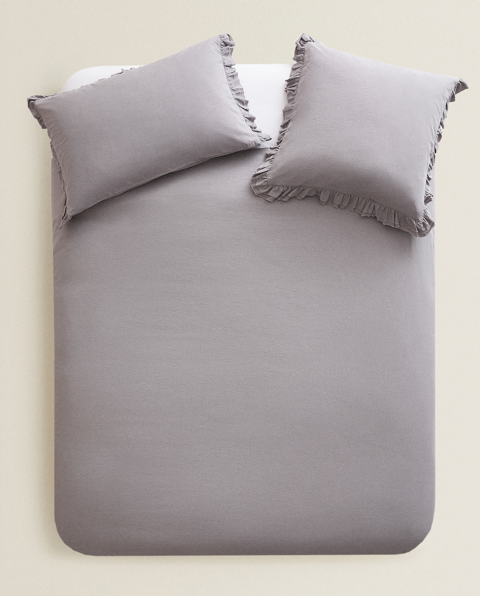 COTTON PERCALE DUVET COVER WITH RUFFLE