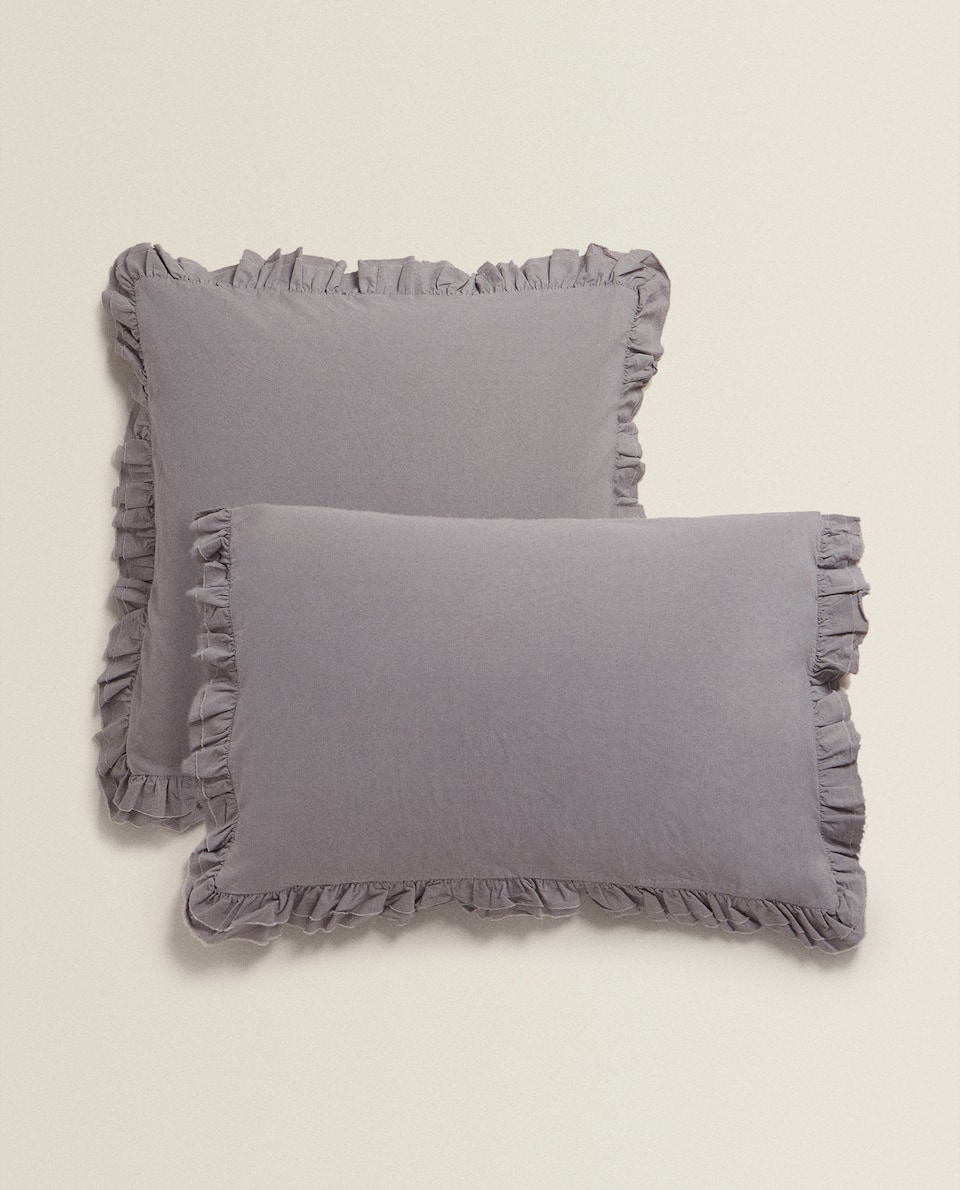 COTTON PERCALE PILLOWCASE WITH RUFFLE