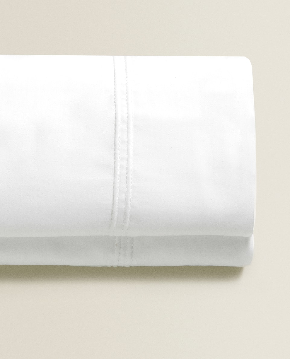 SATEEN FLAT SHEET WITH EMBROIDERED EDGE