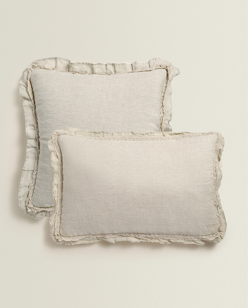 WASHED LINEN CUSHION COVER WITH LACE AND RUFFLE TRIM