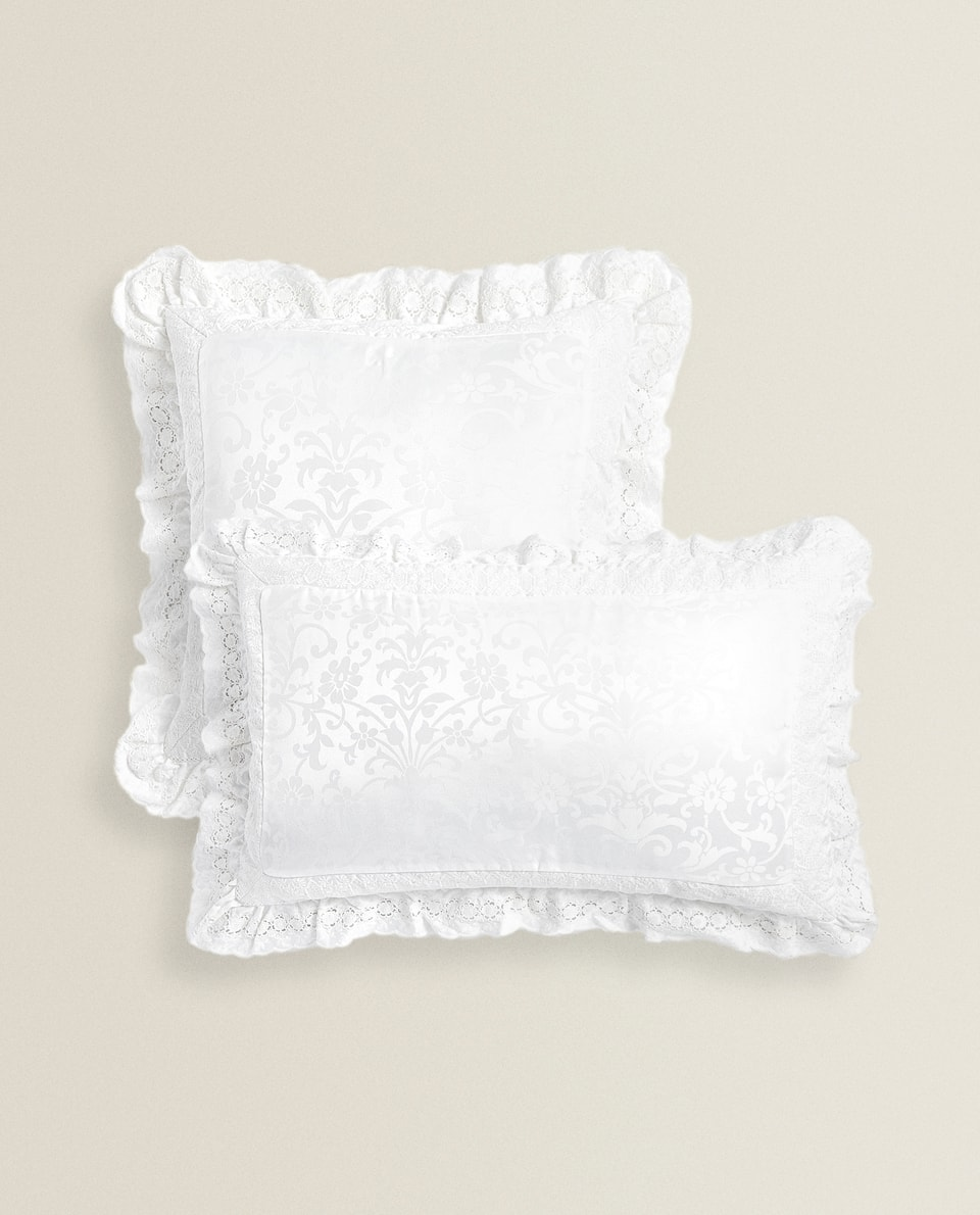 EMBROIDERED CUSHION COVER WITH FRILLS