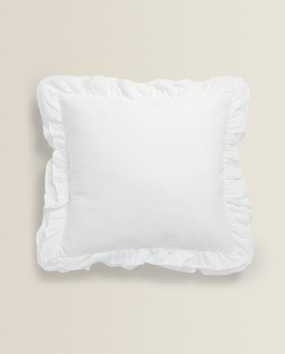CUSHION COVER WITH DOUBLE RUFFLE TRIM