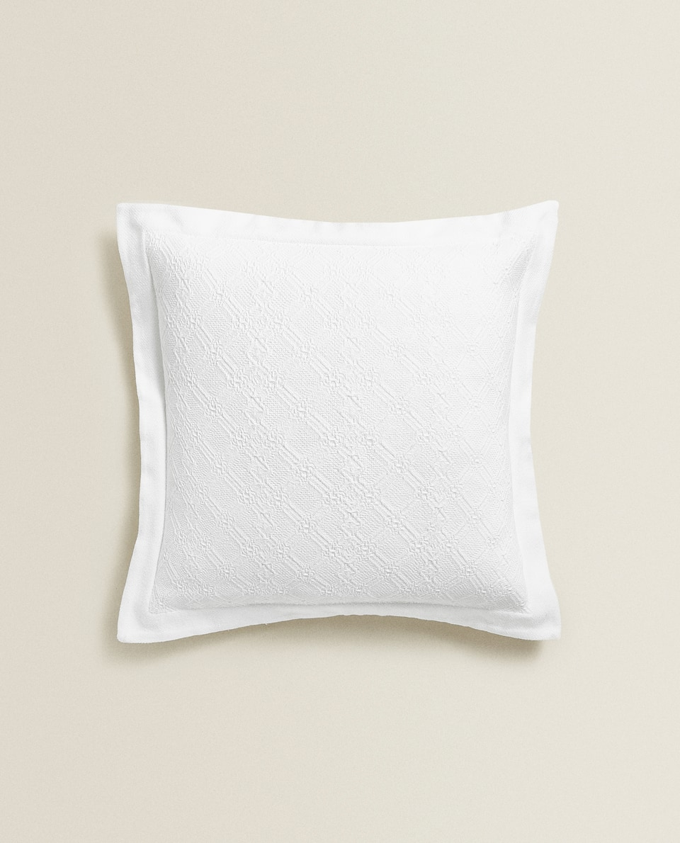 GEOMETRIC JACQUARD COTTON CUSHION COVER
