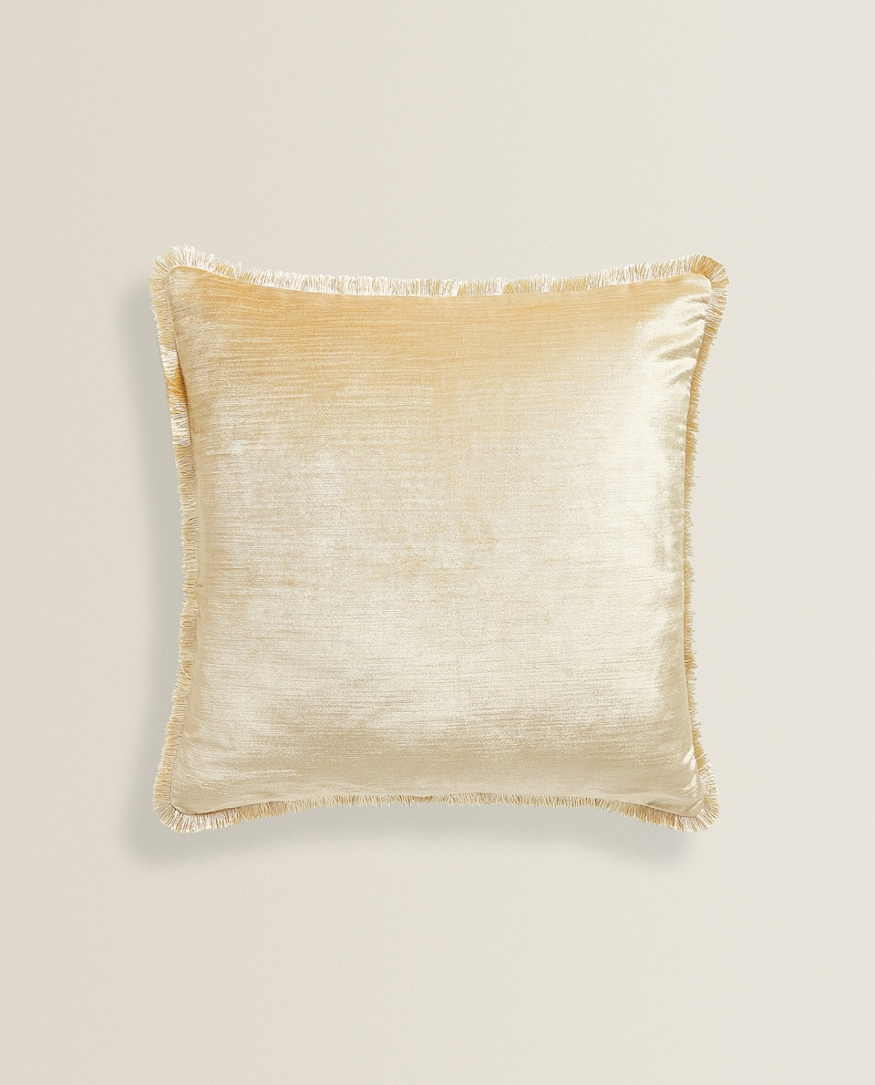 FRINGED VELVET CUSHION COVER