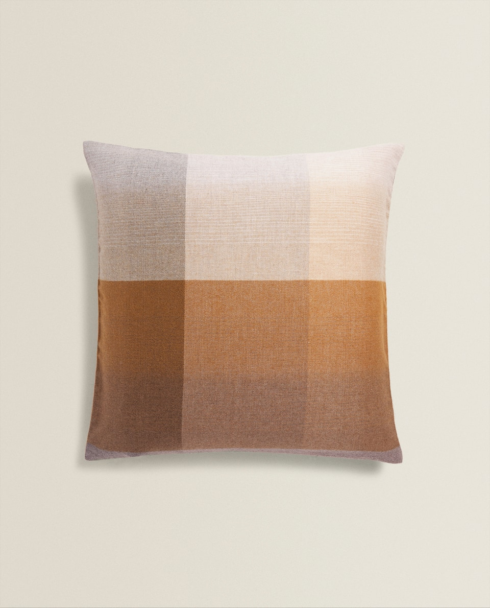 CHECKED WOOL CUSHION COVER
