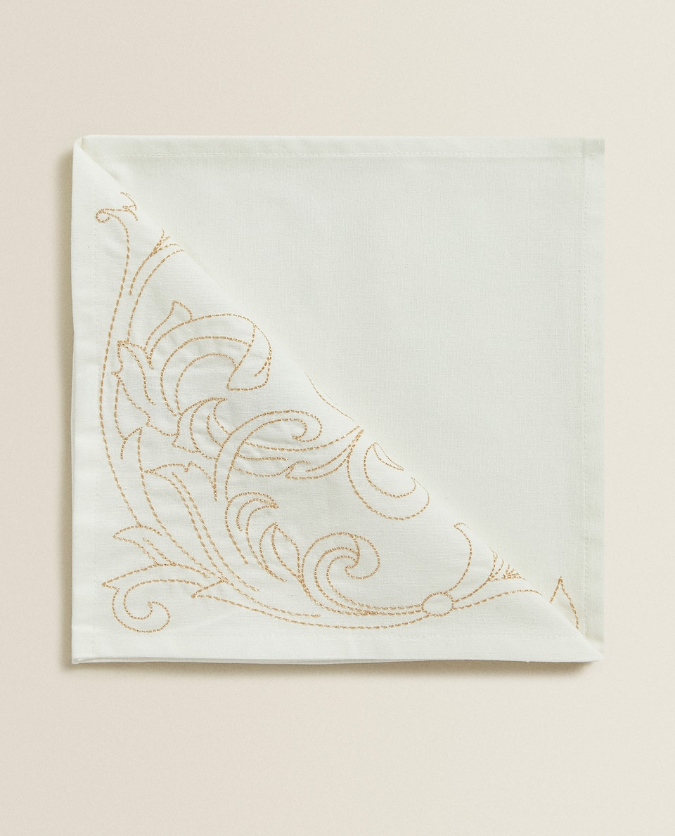 EMBROIDERED PATTERNED NAPKIN (PACK OF 4)