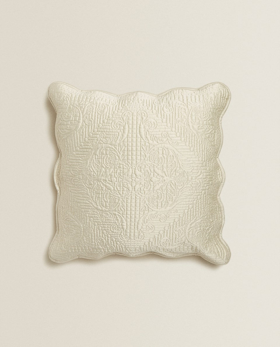 EMBROIDERED METALLIC THREAD CUSHION COVER