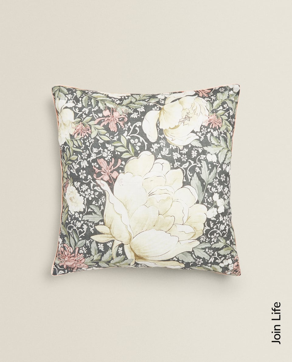 GREEN FLORAL PRINT CUSHION COVER