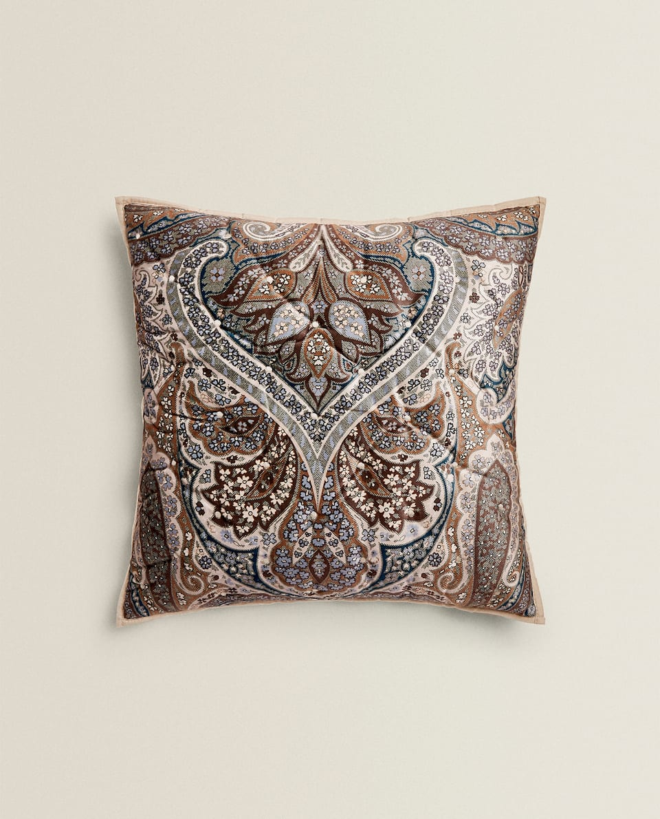 VELVET PAISLEY CUSHION COVER