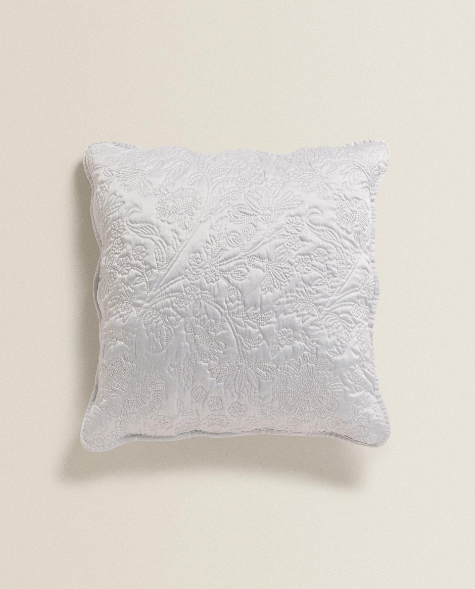 CUSHION COVER WITH RAISED FLORAL DESIGN
