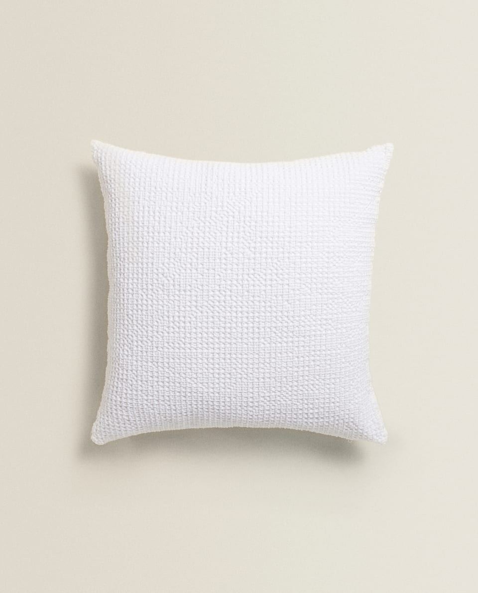 WAFFLE-EFFECT COTTON CUSHION COVER