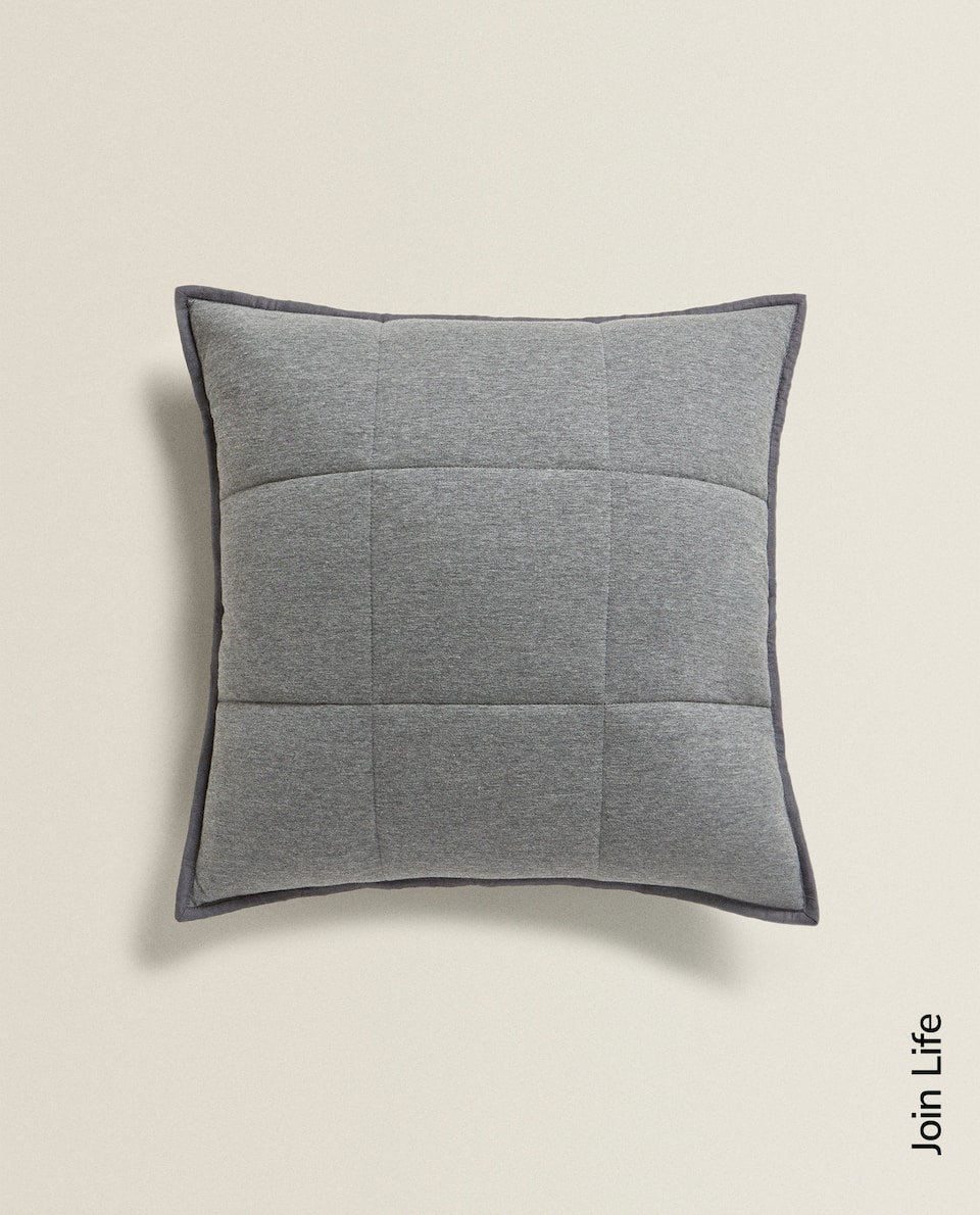GREY JERSEY FABRIC CUSHION COVER