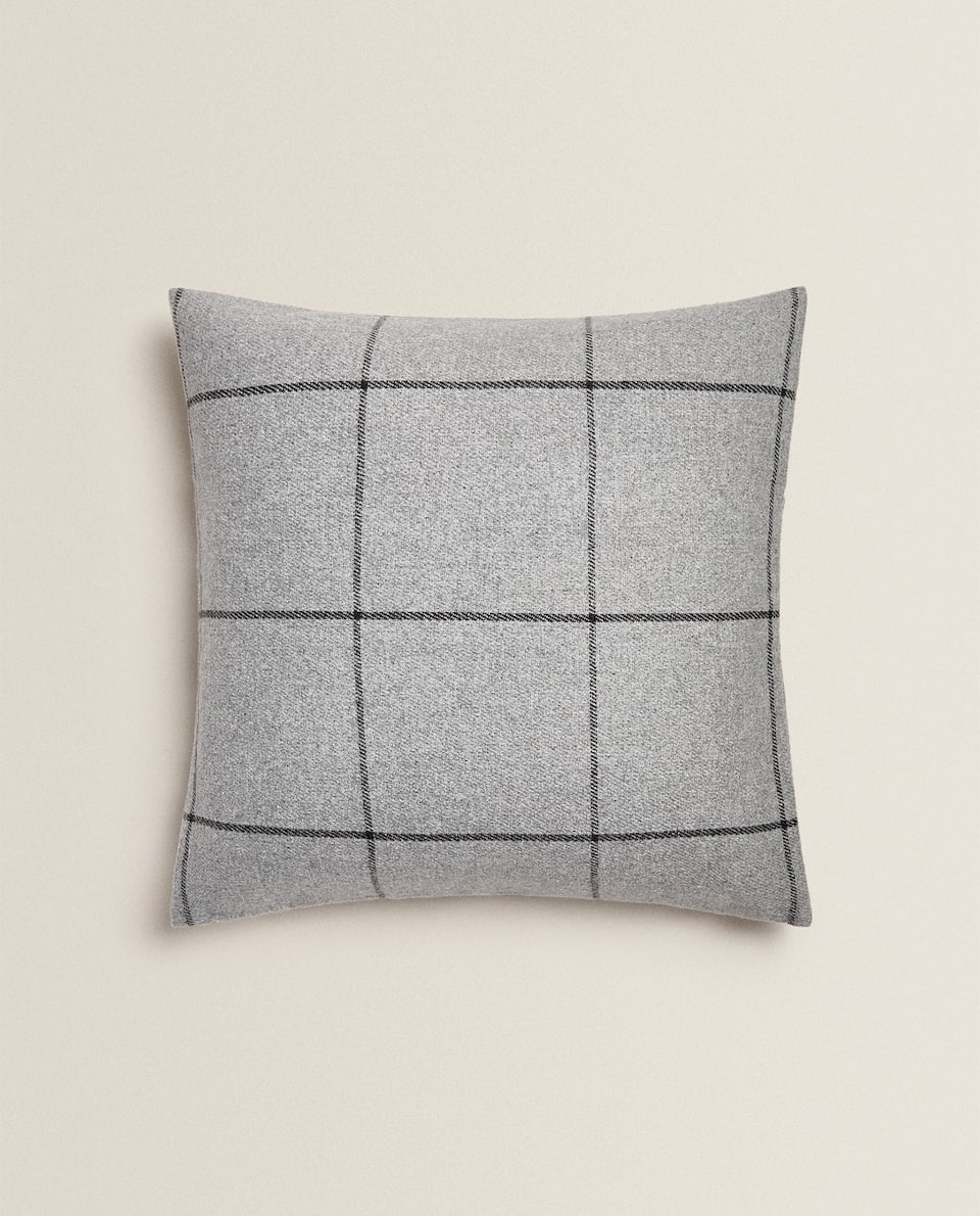 CHECK FLANNEL CUSHION COVER