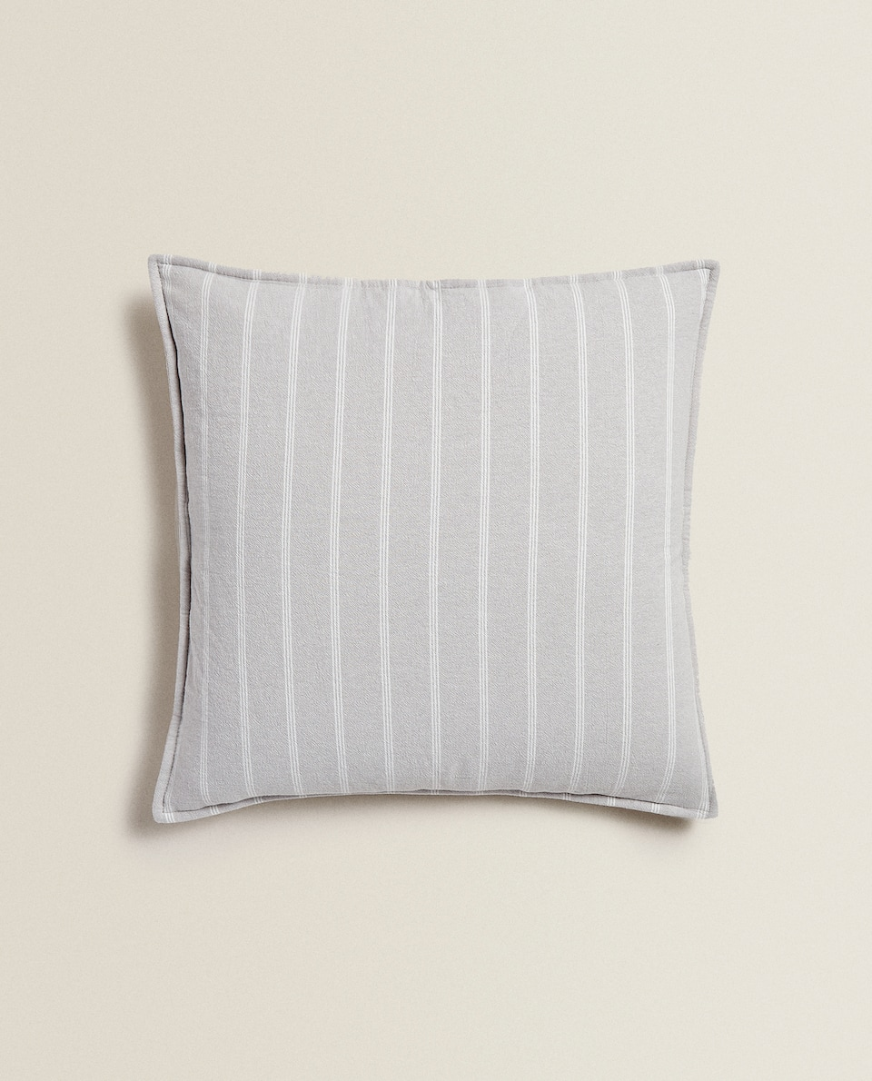 STRIPED WASHED COTTON CUSHION COVER