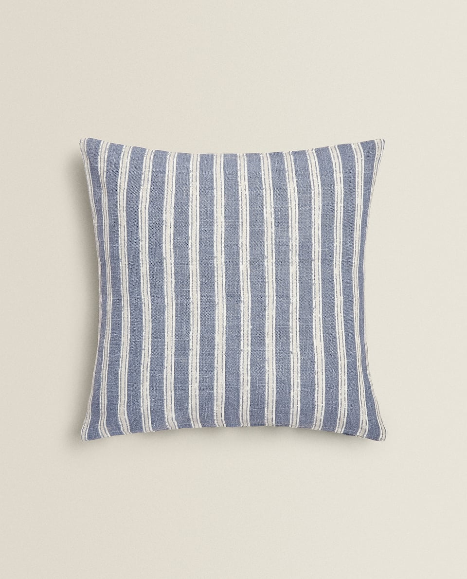 STRIPED PRINT LINEN CUSHION COVER