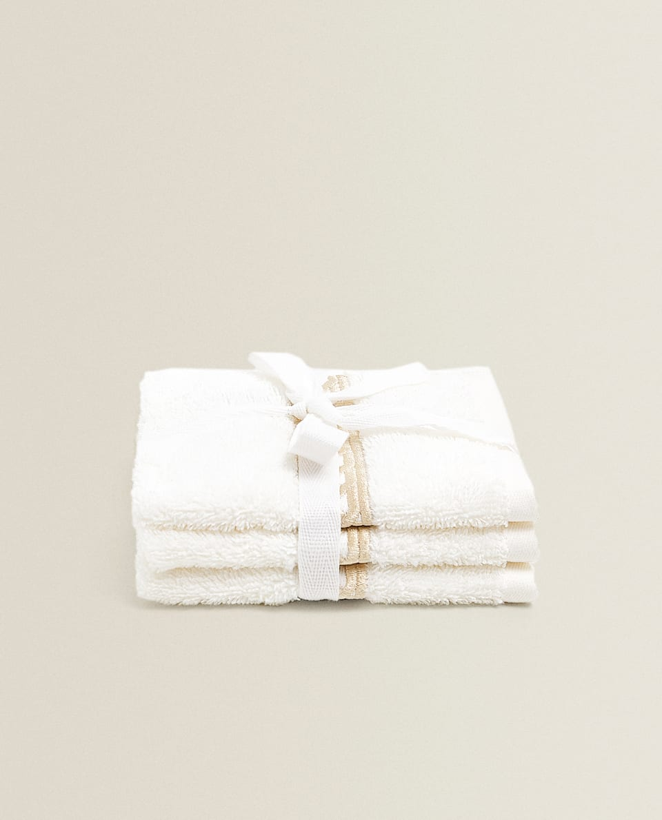 TOWEL WITH EMBROIDERED CHAIN (SET OF 3)