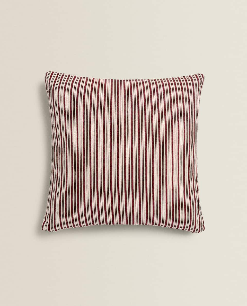 STRIPED PRINT WASHED COTTON CUSHION COVER