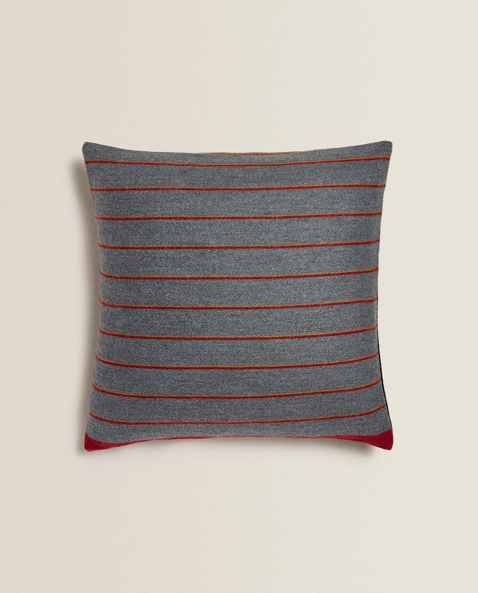 STRIPED PRINT CUSHION COVER