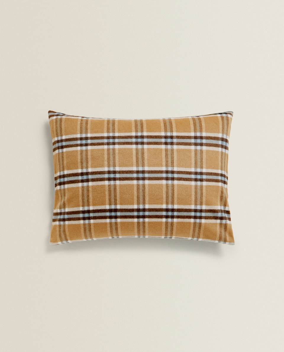 CHECKED PRINT WOOL CUSHION COVER