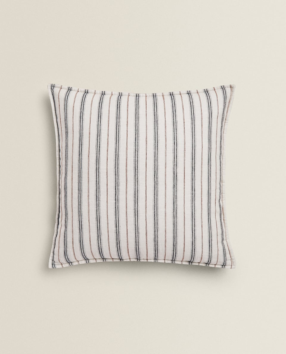 STRIPED WASHED EFFECT CUSHION COVER