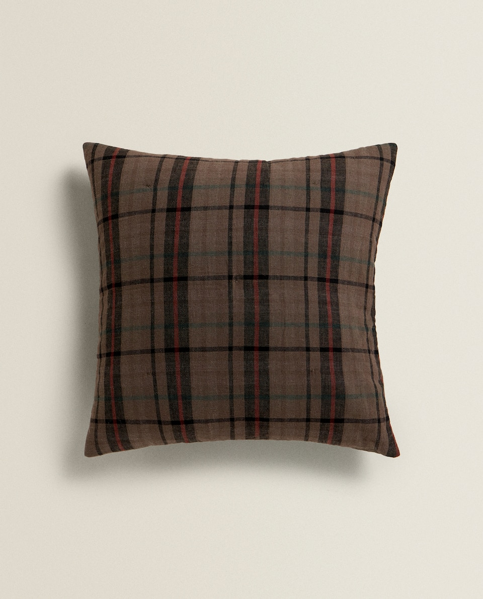 CHECK WASHED EFFECT CUSHION COVER
