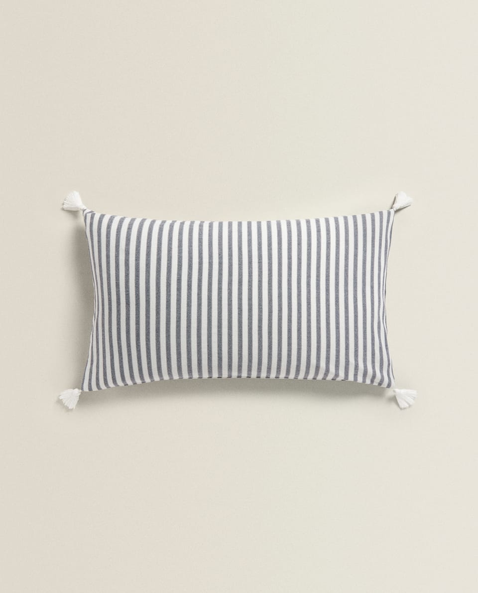 STRIPED PRINT FLANNEL CUSHION COVER