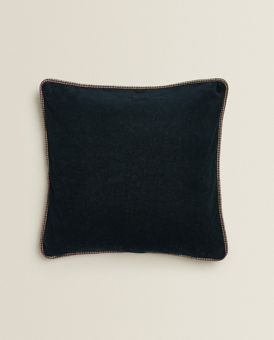 BLUE CORDUROY CUSHION COVER