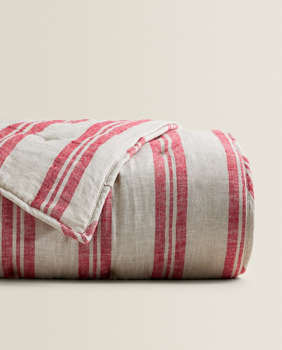 STRIPED COTTON LINEN QUILT
