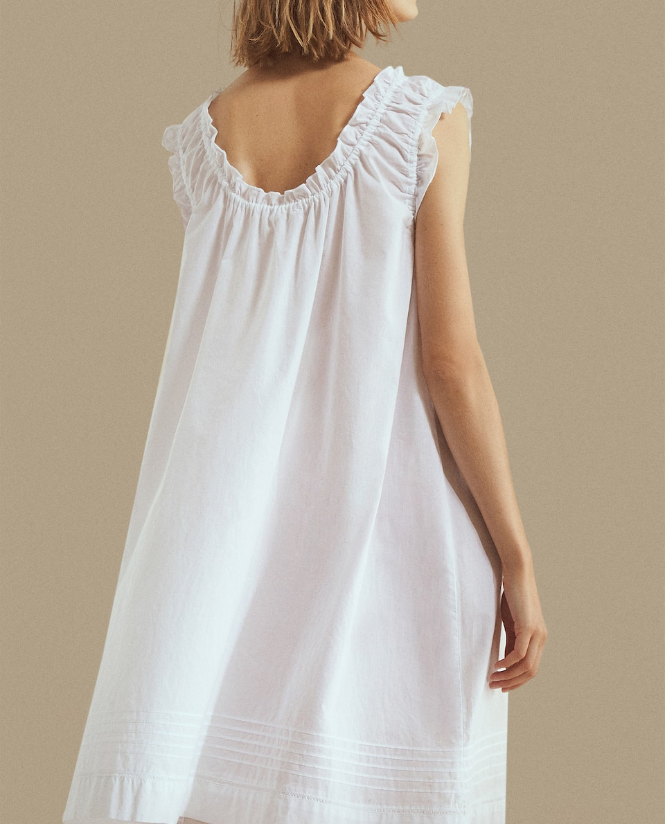GATHERED NECKLINE NIGHTDRESS