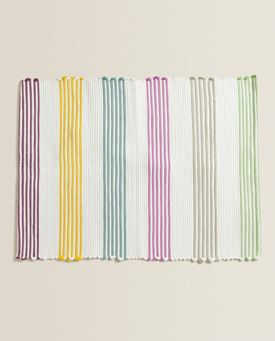 MULTICOLOURED STRIPED BATH MAT