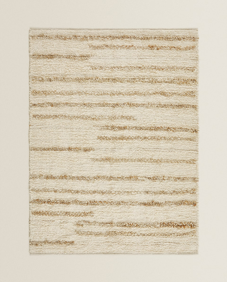 STRIPED WOOL AND JUTE RUG