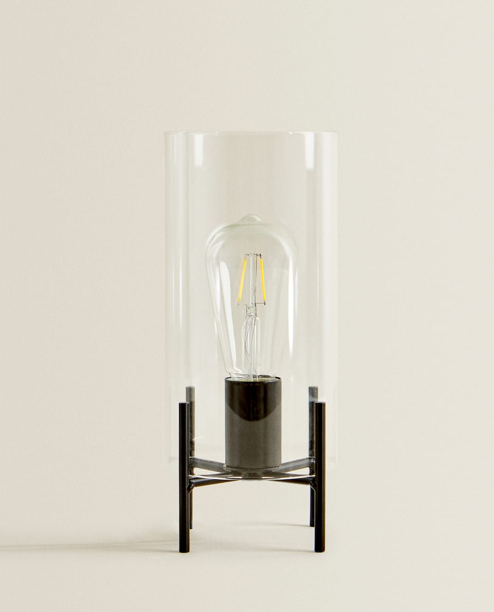 GLASS LAMP WITH METAL STAND