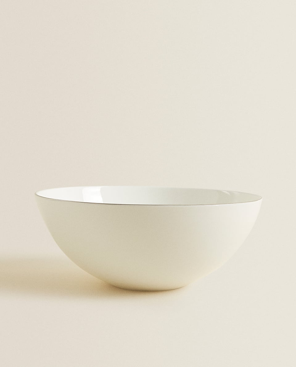PORCELAIN SALAD BOWL WITH SILVER RIM