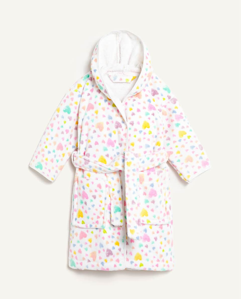 HEART PRINT BATHROBE