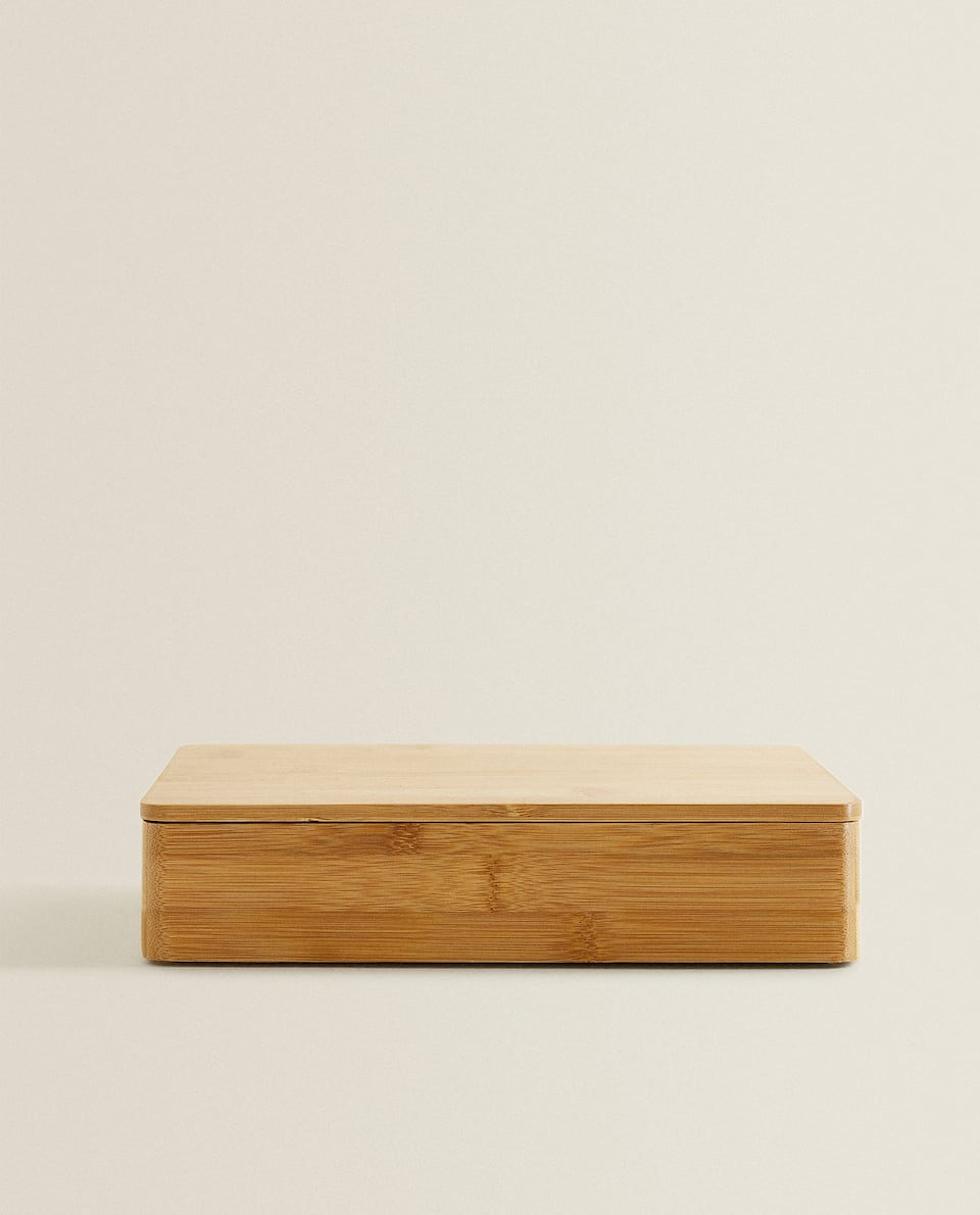 RECTANGULAR WOODEN JEWELLERY BOX