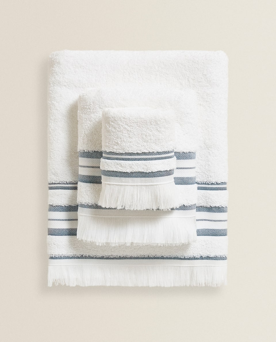 COTTON TOWEL WITH STRIPE AND FRINGING
