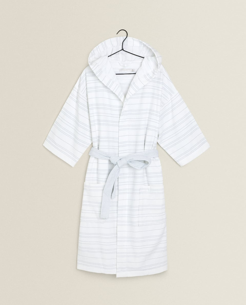 COTTON BATHROBE WITH LINES