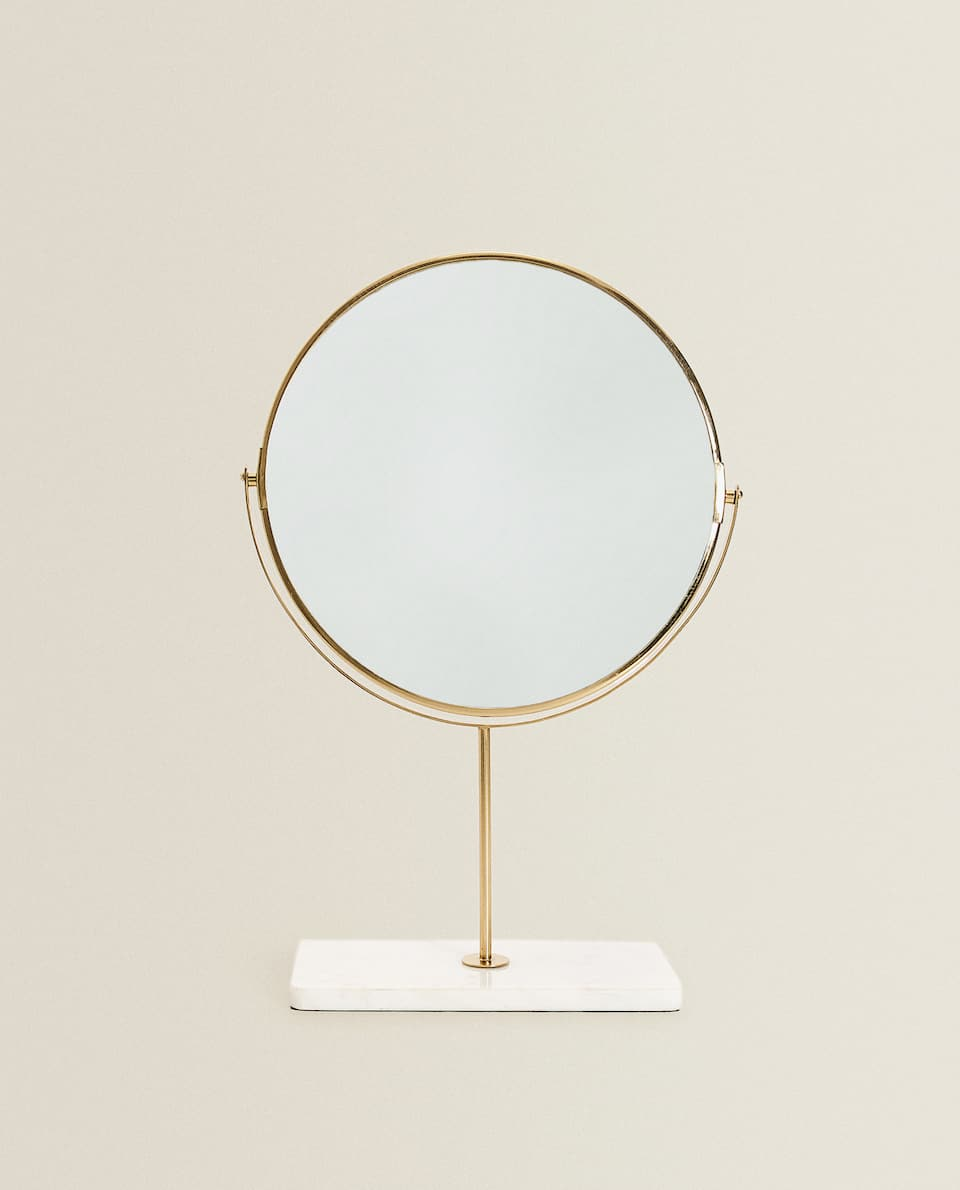 STAND-UP MIRROR WITH MARBLE BASE