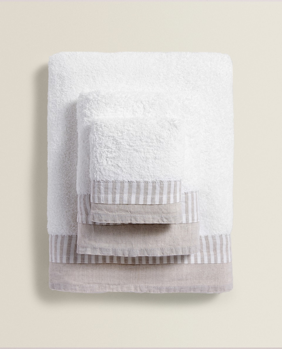 COTTON TOWEL WITH LINEN APPLIQUÉ