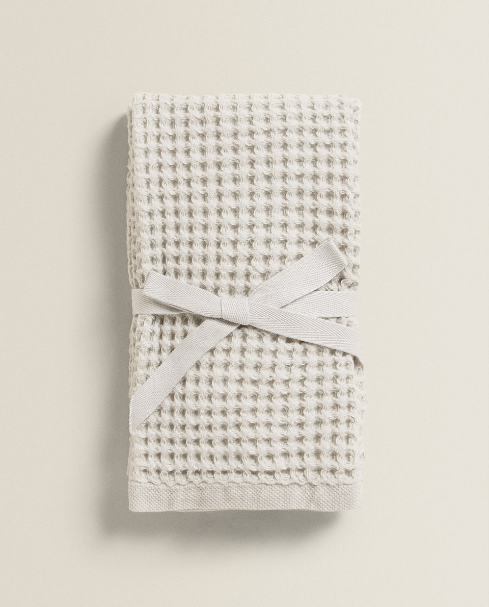 WAFFLE KNIT COTTON TOWEL (PACK OF 2)