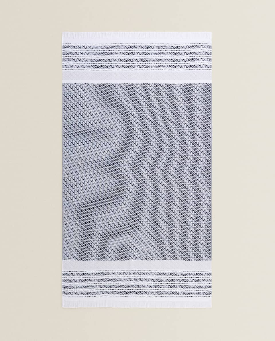 COTTON BEACH TOWEL WITH STRIPED BORDERS