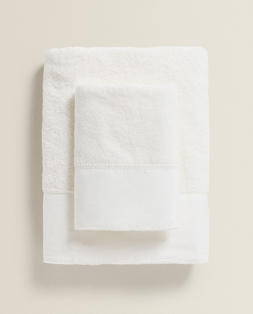 SERVIETTE DE BAIN BORDURE MINI-POMPON